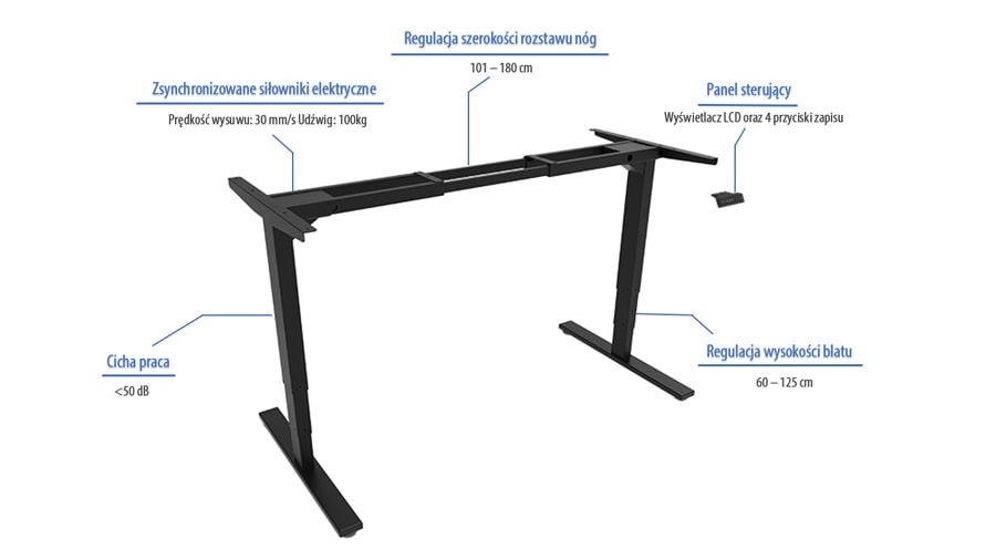 Elektrycznie regulowany stelaż elektrycznie regulowane biurko